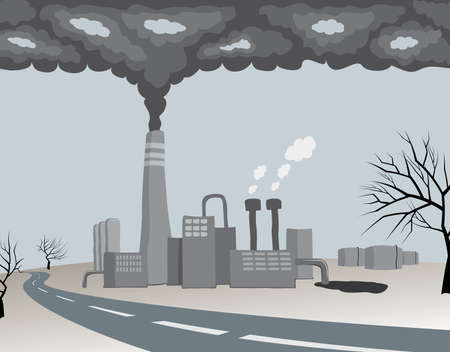 warming: polluting ecology factory