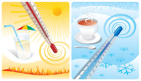 ice tea: two thermometer show cold & heat Illustration