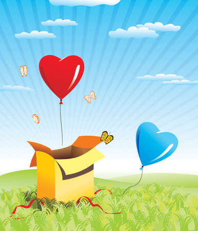 out of the box: two hearts fly out box Illustration