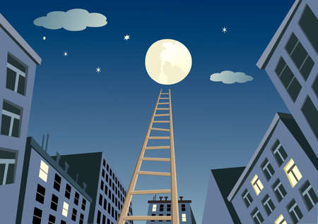 moon ladder from night city 矢量图像