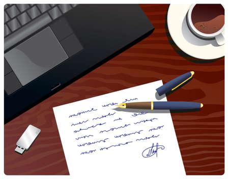 werkplek met laptop & werkdocument
