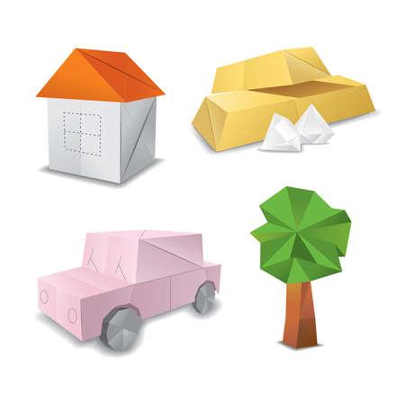 car leaf: origami set symbol