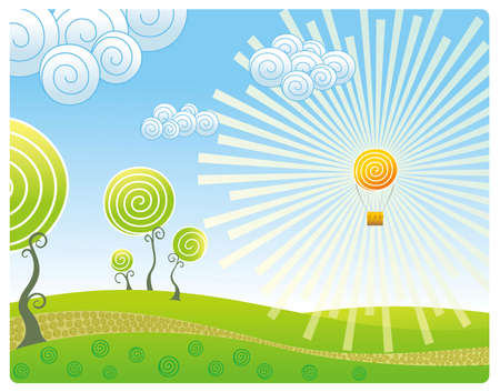 scenic background: Kind on a landscape with a balloon in the form of the sun