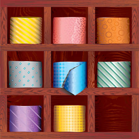 A set of ties folded in the wood shelves Stock Illustratie