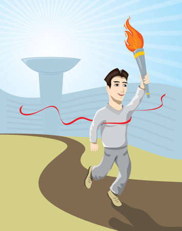 athlete carrying the flame 免版税图像 - 15972838