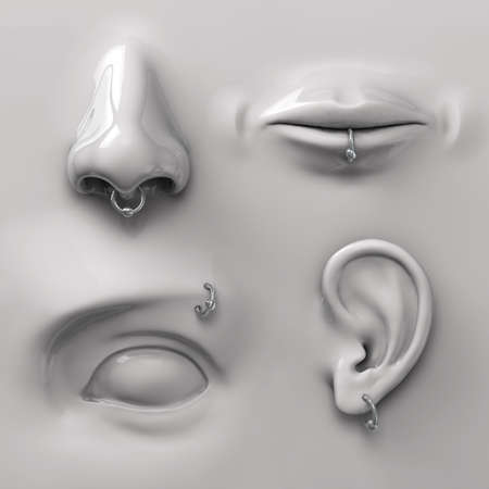 perceptions: parts of the face with piercing Stock Photo