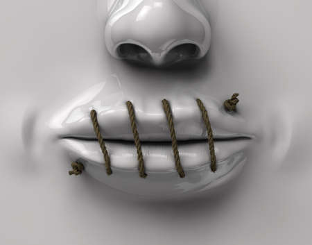nose plugs: mouth sewn rope