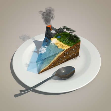 piece of land like a cake on a plate 免版税图像