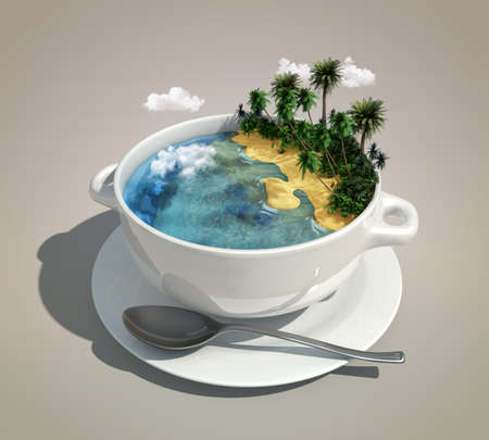 piece of land   ocean like a soup 版權商用圖片 - 16606644