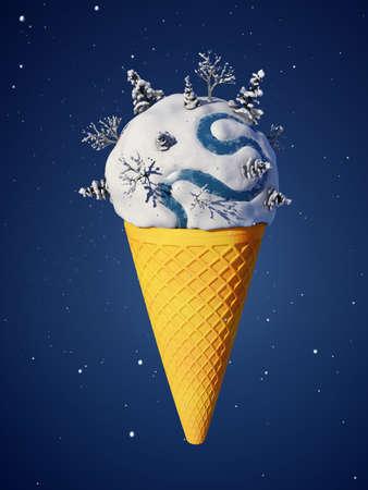 helado caricatura: parte redonda de la tierra en forma de helado Foto de archivo