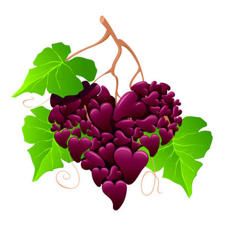 grape like a heart 矢量图像