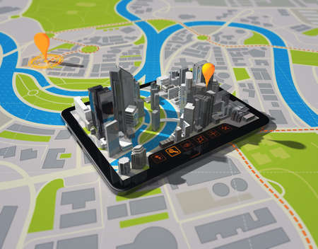 mapping: tablet with navigator on map Stock Photo