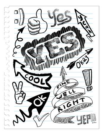 set yes sketchs 矢量图像