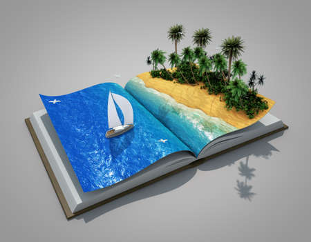 travel locations: an open book with a real holiday