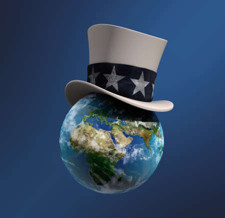 globe in Uncle Sam s hat