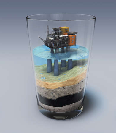 oil and gas industry: Oil platform in the glass Stock Photo