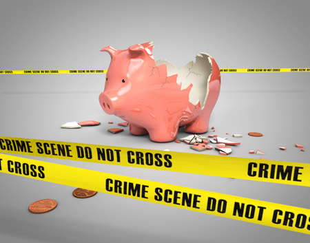 bank robber: stolen savings from a broken piggy bank Stock Photo