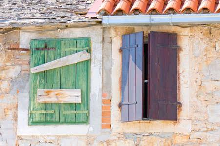 Windows and shutters, Maslinica, Solta Island, Croatia Zdjęcie Seryjne