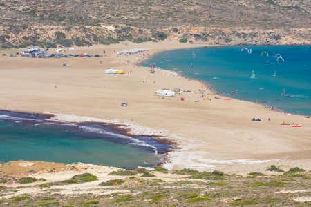 Prasonisi -  the Kiss of two seas  Rhodes  Stock Photo