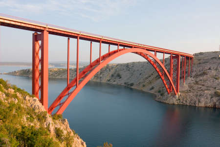 Red Maslenica Bridge, Croatia photo