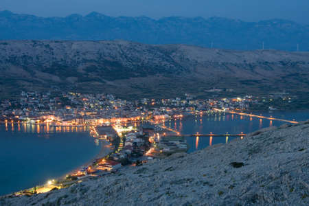 Night view, Pag, Croatia photo