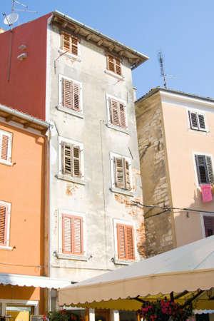 Narrow stone street of Rovinj, Croatia photo