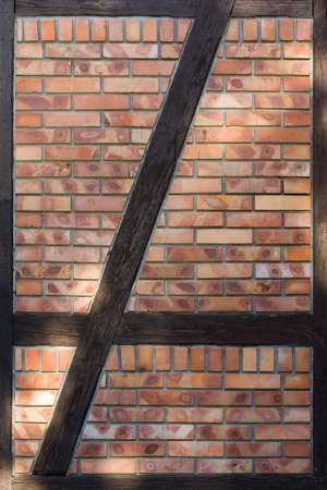 brick wall and wooden frame Stock Photo - 14876427