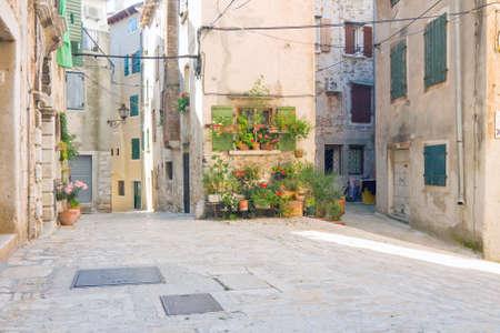 Old town architecture of Rovinj, Croatia  Istria touristic attraction  Stock Photo