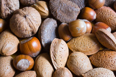 mixed nuts: Mixed nuts in the shell selection of Brazil,almonds,walnut and hazelnuts Stock Photo