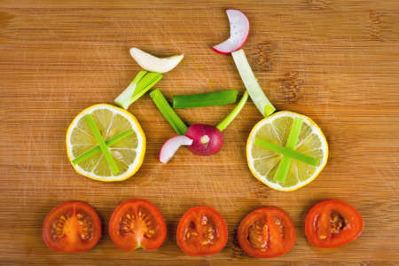 carbohydrate: Healthy lifestyle concept - vegetable bike  Stock Photo