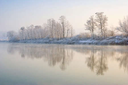 Winter sunrise over the river Stock Photo - 17536798
