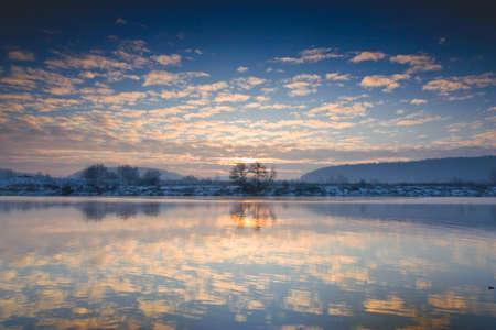 Winter sunrise over the river Stock Photo - 17535556