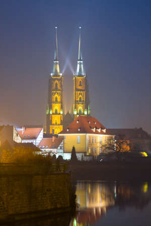 The Cathedral of St. John the Baptist in Wroclaw at night.  photo