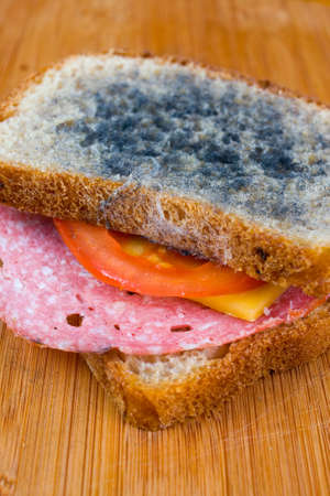 rotten: moldy sandwich with salami, tomatoes on a chopping board Stock Photo