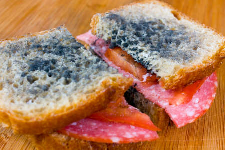 uneatable: moldy sandwich with salami, tomatoes on a chopping board Stock Photo
