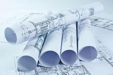 Rouleaux d'architecture et plans de maison