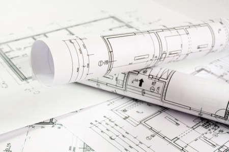アーキテクトのロールおよび家の計画 写真素材
