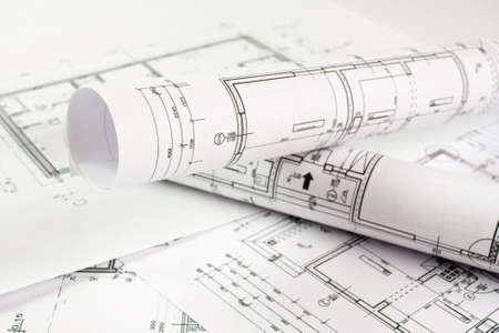 Architect rolls and house plans photo