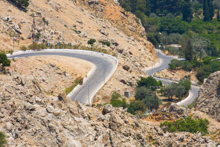 winding mountain road, Rhodes, Greece photo
