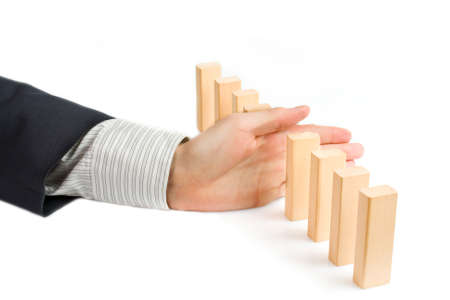 Concept for solution to a problem by stopping the domino effect Stock Photo - 18380041