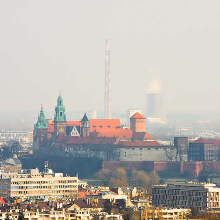 cracow: Cracow panorama with Wawel castle Stock Photo