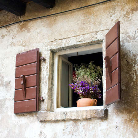 Window with Flowers, Dalmatia, Zadar, Croatia Stock Photo - 18566885