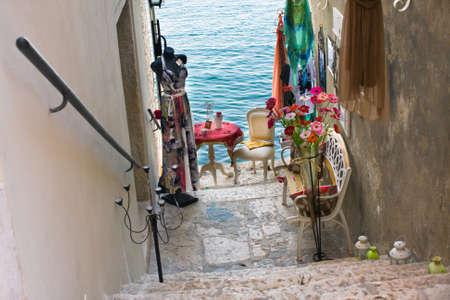 Narrow stone street of Rovinj, Croatia photo