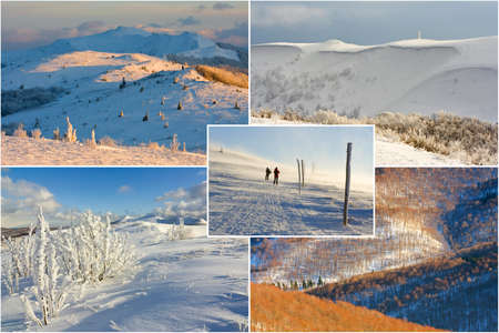 winter mountains landscape, collage photo
