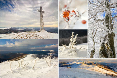 冬の山の風景、コラージュ 写真素材