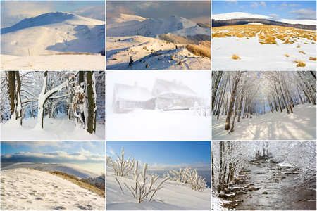 winter mountains landscape, collage Stock Photo - 18877973