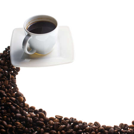 coffe break: Coffee cup and grain on white background