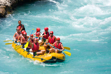 GREEN CANYON, TURKEY - JULY 10, 2010  White water rafting on the rapids of river Manavgat on July 10, 2009 in Green Canyon, Turkey  Manavgat River is one of the most popular among rafters in Turkey