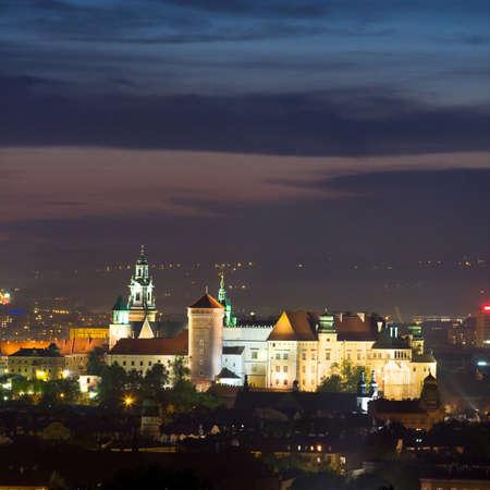 Night scene in Krakow, Poland  photo