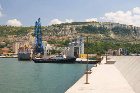 balchik: Container ship at the Port Balchik of Bulgaria
